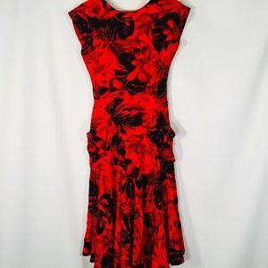 Joni Blair Vintage Red Black Floral Salsa Dress S